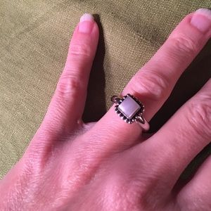 Sterling Silver and Pearl Button Frame Ring